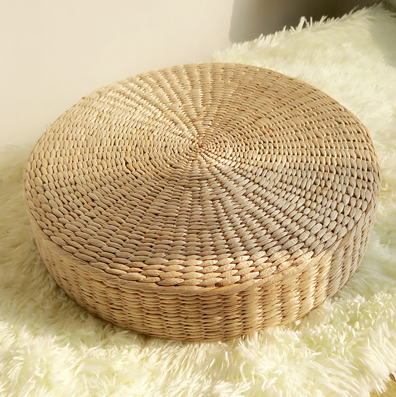 40cm round pouf tatami cushion floor cushions natural straw meditation mat yoga mat round zafu. Black Bedroom Furniture Sets. Home Design Ideas
