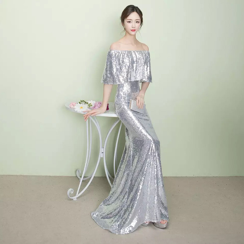 D008 ruffles neck off the shoulder floor length rose gold sequined dresses  IMG 2579 IMG 2501 ... faad103528b3