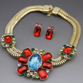 New Arrival Gold Plated Red Austrian Crystal Women Necklace Earrings