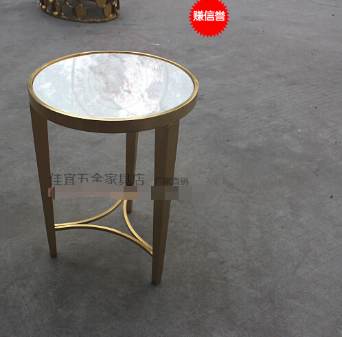 Stainless steel small round tea table. toughened glass small tea table phone sofa the round table