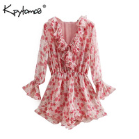Vintage Sweet Floral Print Ruffle Playsuits Women 2019 Fashion Flare Sleeve Elastic Waist Beach Jumpsuits Casual Body Femme