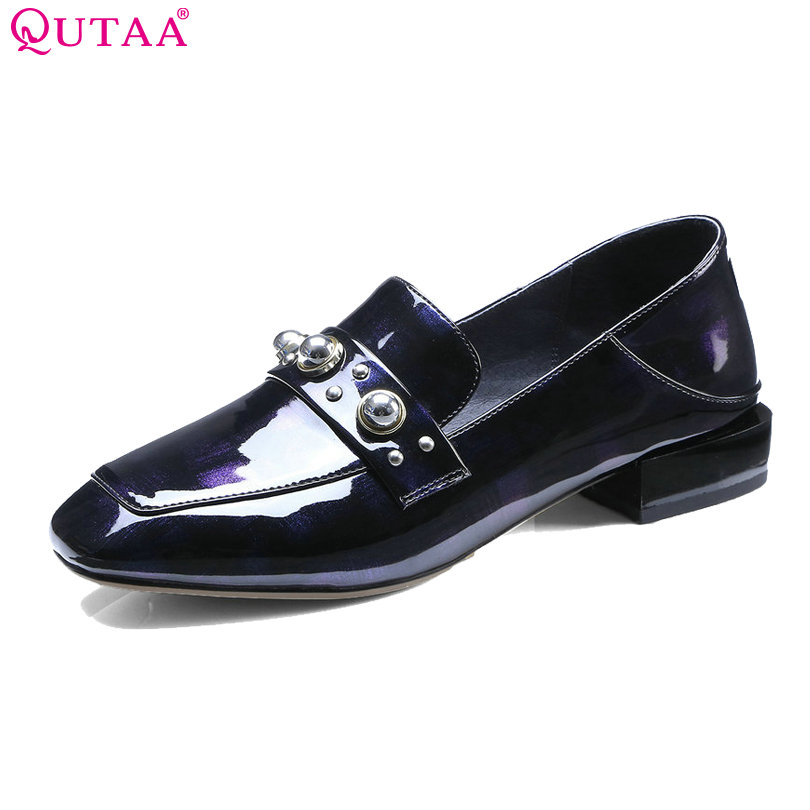 QUTAA 2018 Women Pumps Square Low Heel Pointed Toe Genuine Leather Slip On Black Spring/ Autumn Ladies Casual Pumps Size 34-42 цена
