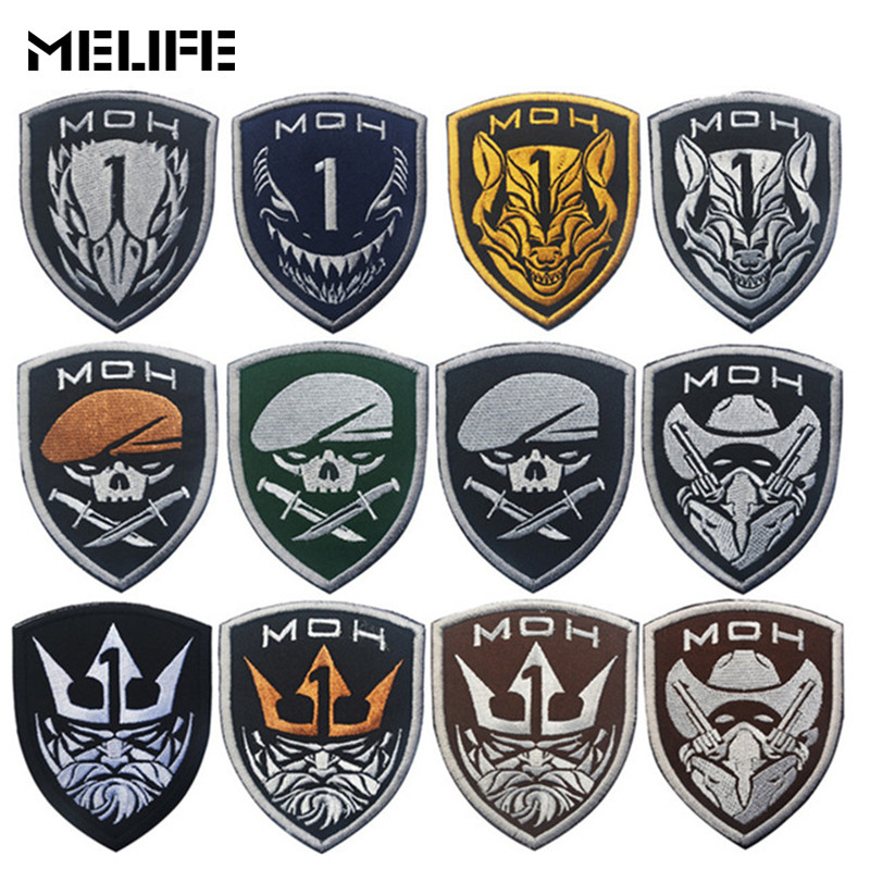 Hunting Accessories Patch Honor Medal Of Honor MOH King Eagle Wolf Skull Tactical Military Patches Army Embroidery Badges Black