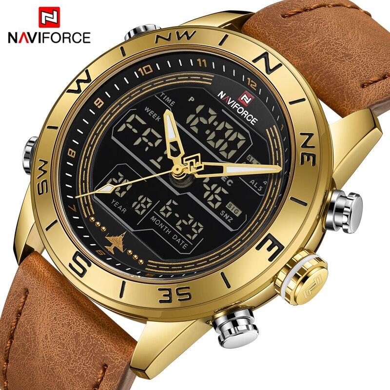 Golden Leather Quartz Wrist Watch Dual Display Digital Sport Clock Masculin