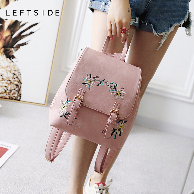 LEFTSIDE Fashion Pink Floral PU Leather Backpack Women Embroidery School Bag For Teenage Girls Ladies Bagpack Small Backpacks backpack women genuine leather vintage butterfly printe 2017 travel school bag for teenage girls brand ladies small backpacks