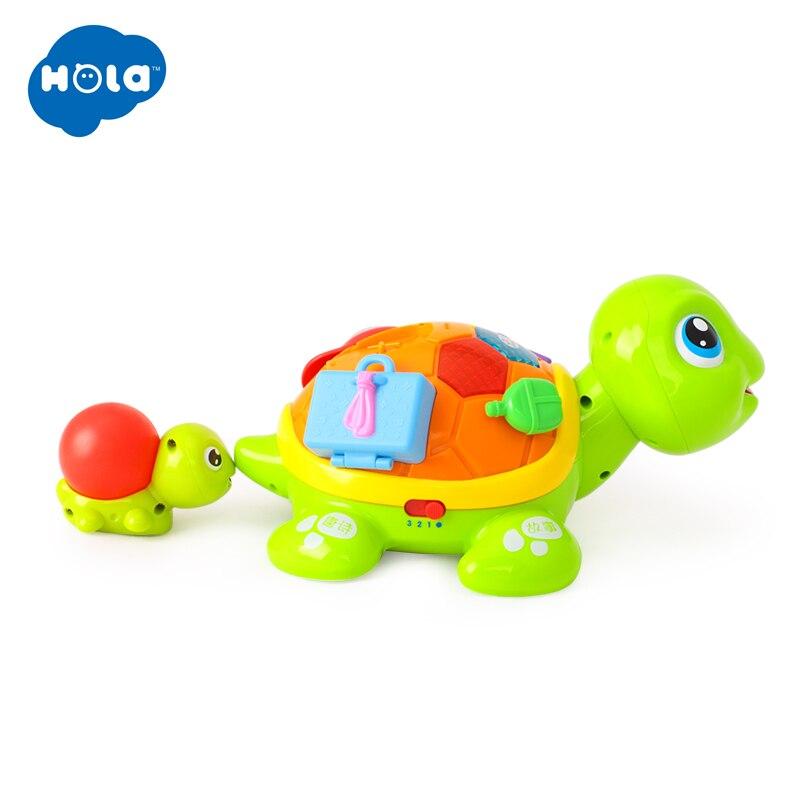 HOLA 868 Parent-enfant tortue Interactive B/O électrique Animal Puzzle tortue bambin ramper bébé jouets pour 6M + - 5
