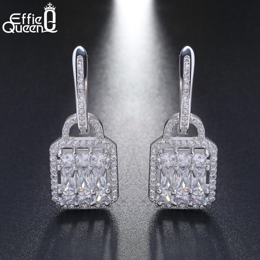 Effie Reine 2018 Unique Design Serrure En Forme de 925 En Argent Sterling Balancent Boucles D'oreilles Zircon Cristal Bijoux de la Partie Femelle BE43