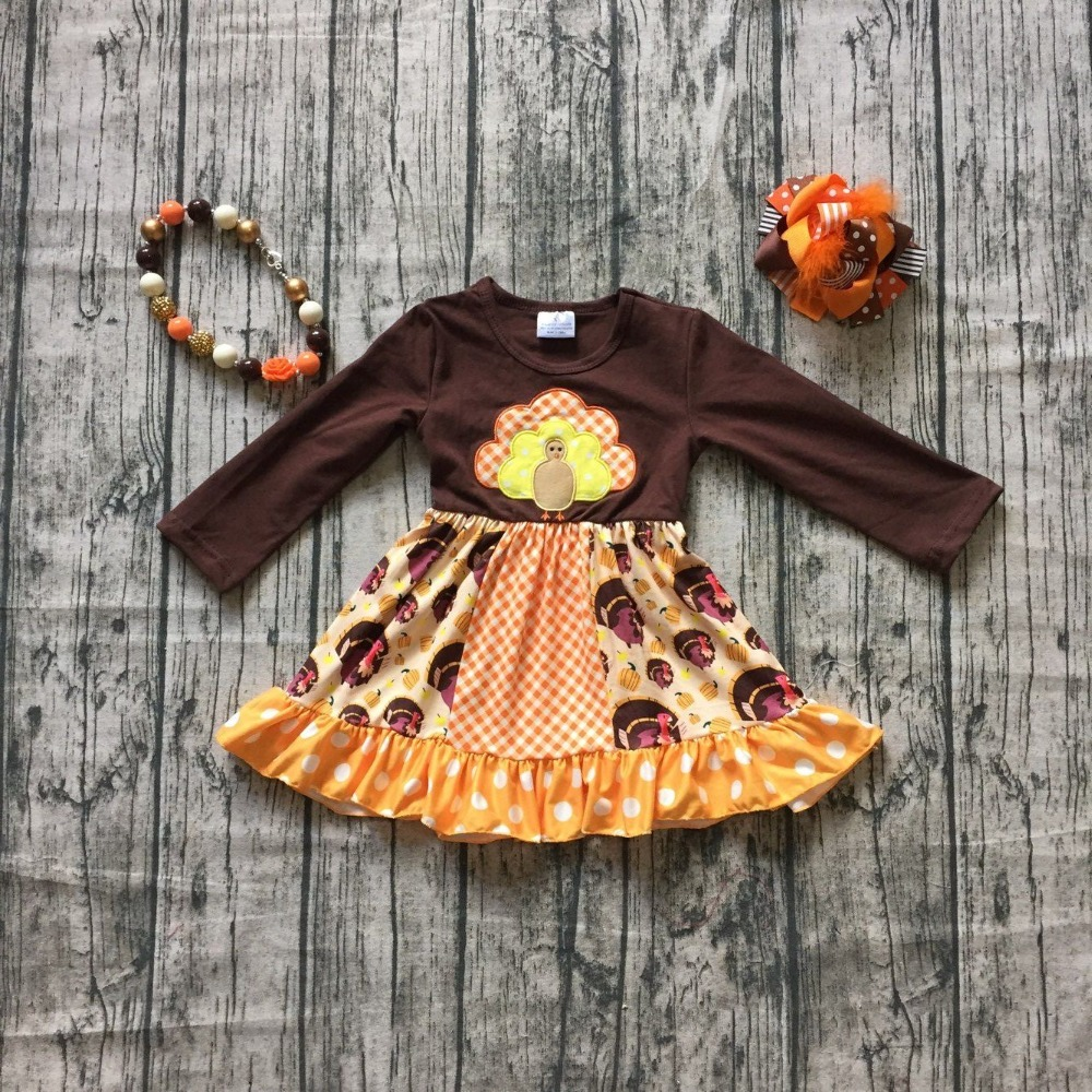 thanksgiving Fall/winter dress girls thankgiving dress long sleeve milksilk dress children girls brown top dress with accessorie batwing sleeve pocket side curved hem textured dress
