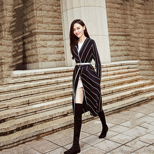 Fashion Striped Trench 2016 European Style Star Casual Long Sleeve V-neck New Belt Slim Patchwork Elegant Split Ladies Trench