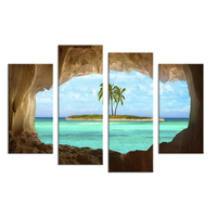 4PCS Cave Seacape Living Rooms Set Wall Painting Print On Canvas For Home Decor Ideas Paints