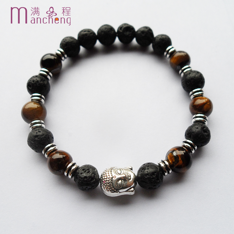 New design Ancient silver plated Tiger eyes Volcanic Lava Buddha head bracelet,Good qualtity black Lava buddha Yoga bracelet