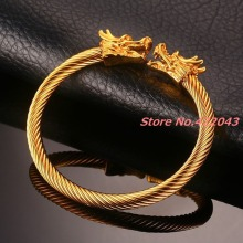 New fashion womens mens gold 316L stainless steel punk dragons 6mm clasp twist cable wire open bracelet pulsera jewelry