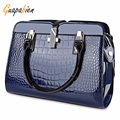 Guapabien 2017 Brand Women Crocodile PU Leather Tote Bag Solid Zipper Shoulder Crossbody Bag Multifunction Female Handbags