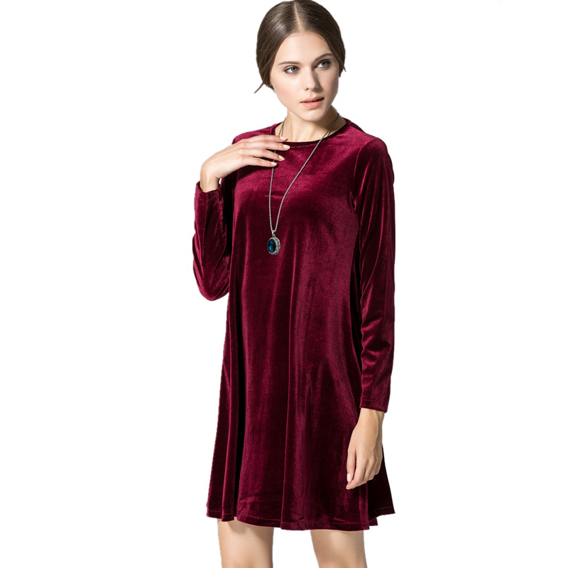 302a5269ae5 CHEAP Benuynffy 2018 New Celebrity Loose A-line O-neck Long Sleeve Dress  High Quality Gold Velvet Ladies Casual Dress for Winter Women ...
