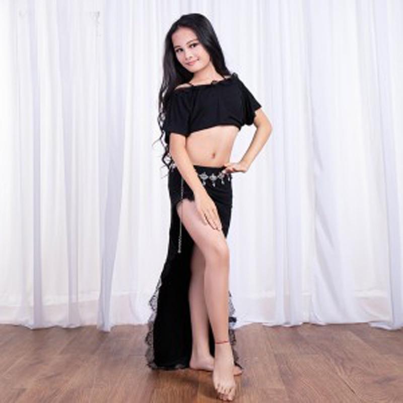 2018 Kids Modle Lace long Dress for Belly Dance 2pcs set Children s Belly Dancing Practice
