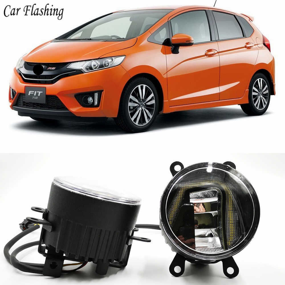 3-IN-1 Functions LED DRL Daytime Running Light Car Projector Fog Lamp with yellow signal For Honda Jazz Fit 2014 2015 2016 2017