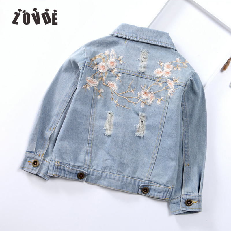 Girl's Long Sleeve Basic Coat Denim Jacket Embroidered Jeans Jacket For Girls Autumn Winter Lapel Pockets Casual Denim Coat color block bird embroidered raglan sleeve zip up jacket