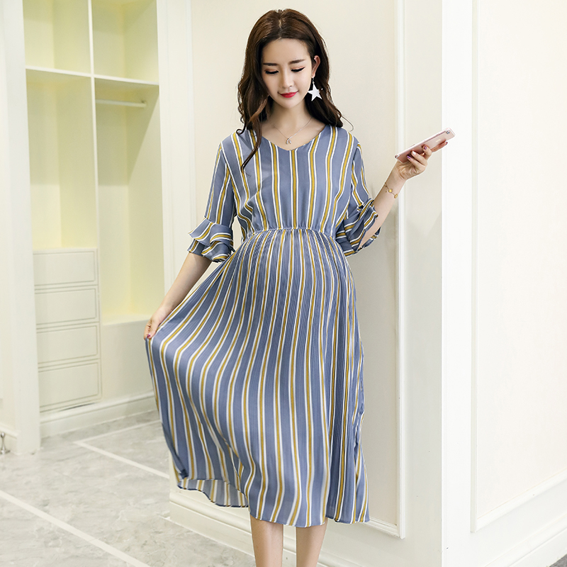 все цены на 2207# Vertical Striped Chiffon Maternity Long Dresses V Neck Slim Waist Charming Clothes for Pregnant Women Elegant Pregnancy