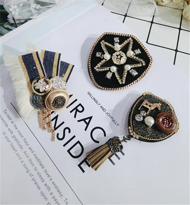 Korea Handmade Vintage Cartoon Shield Star Rhinestone Pearl Badge Brooches Pins Fashion Jewelry Woman Accessories-JQGWBH049E