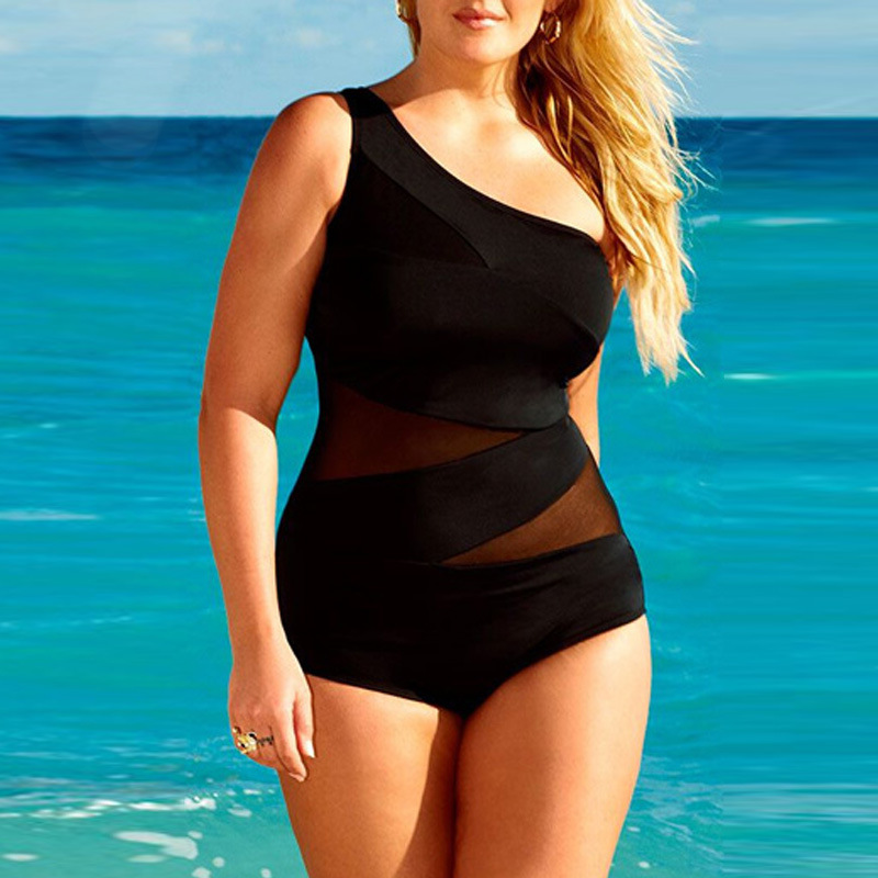2017 Plus Size Net One-Piece Swimsuit Bathing Suit Swimwear Beachwear plus size scalloped backless one piece swimsuit