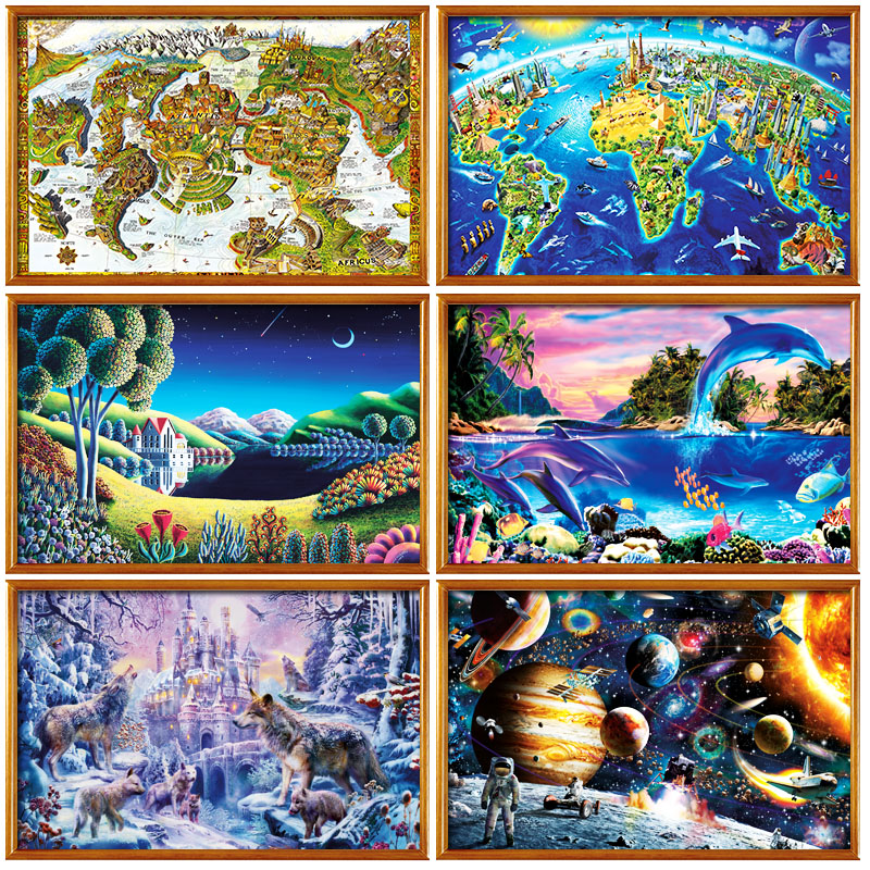 14 Types Hot Sale Adult 1000 pieces Jigsaw Landscape Cartoon Paper Puzzle Children Educational Toy Christmas Gift puzzles 1000 pieces the wooden puzzles adventure together jigsaw puzzle white card adult children s educational toys