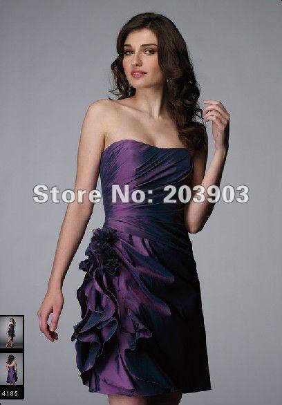 64179c25d3d Cheap Sale Strapless Sheath Ruffle Taffeta Short Mini Cocktail Dress ...