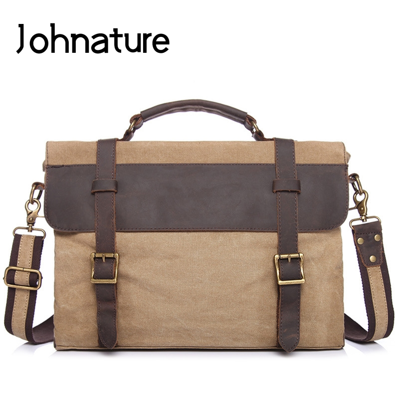 Johnature 2019 New Vintage Mens Business Bag Canvas With Crazy Horse Leather Briefcase Handbags & Crossbody Bags Shoulder Bags