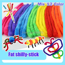 120pcs Spin rods shilly-stick baby game kids Educational Plush DIY chenille stem pipe cleaner materials handmade Christmas toys