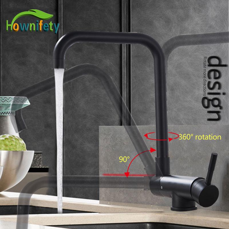 Blacked 360 degree Rotation Kitchen Basin Tap Hot Cold Crane mixer faucet Deck mount Folding inner
