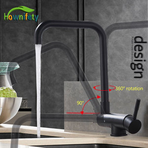 Image 1 - Blacked 360 Degree Rotation Kitchen Basin Tap Hot Cold Crane Mixer Faucet Deck Mount Folding Inner Window Sink Laundry
