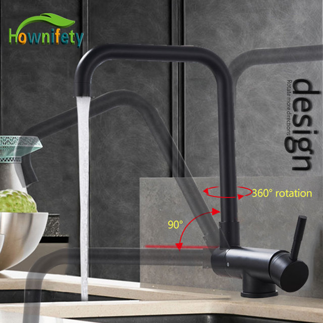 Blacked 360 Degree Rotation Kitchen Basin Tap Hot Cold Crane Mixer Faucet Deck Mount Folding Inner Window Sink Laundry