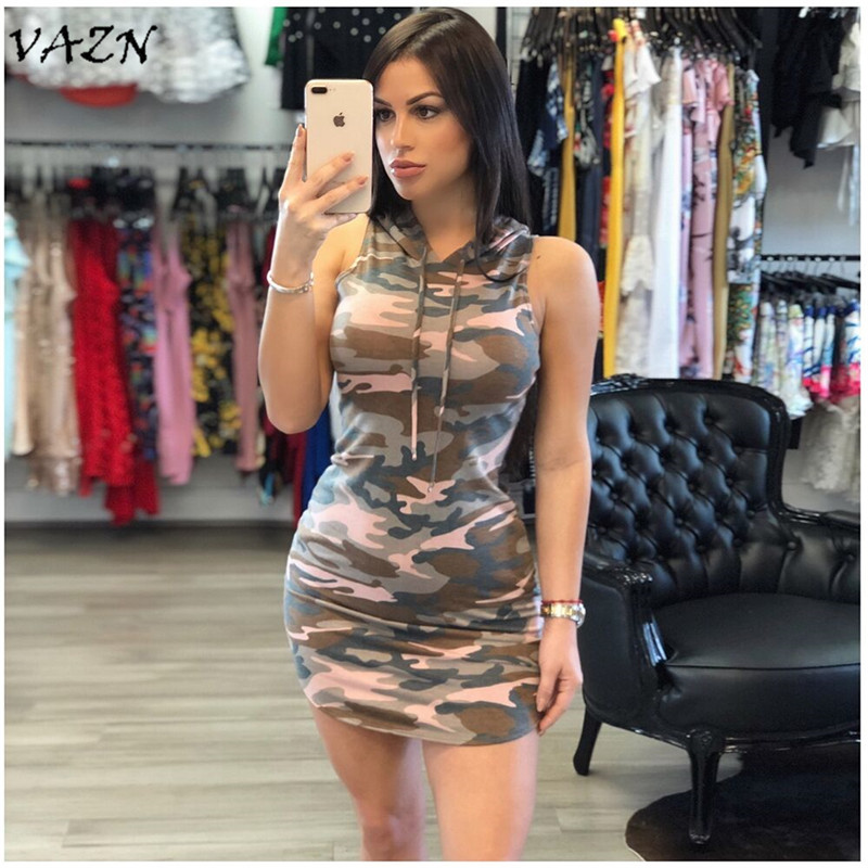 Dresses Vazn Top Quality Novelty Design 2018 Casual Style Women Dress Camouflage Hooded Sleeveless Bodycon Mini Dress Vestido Y5001 Durable Service