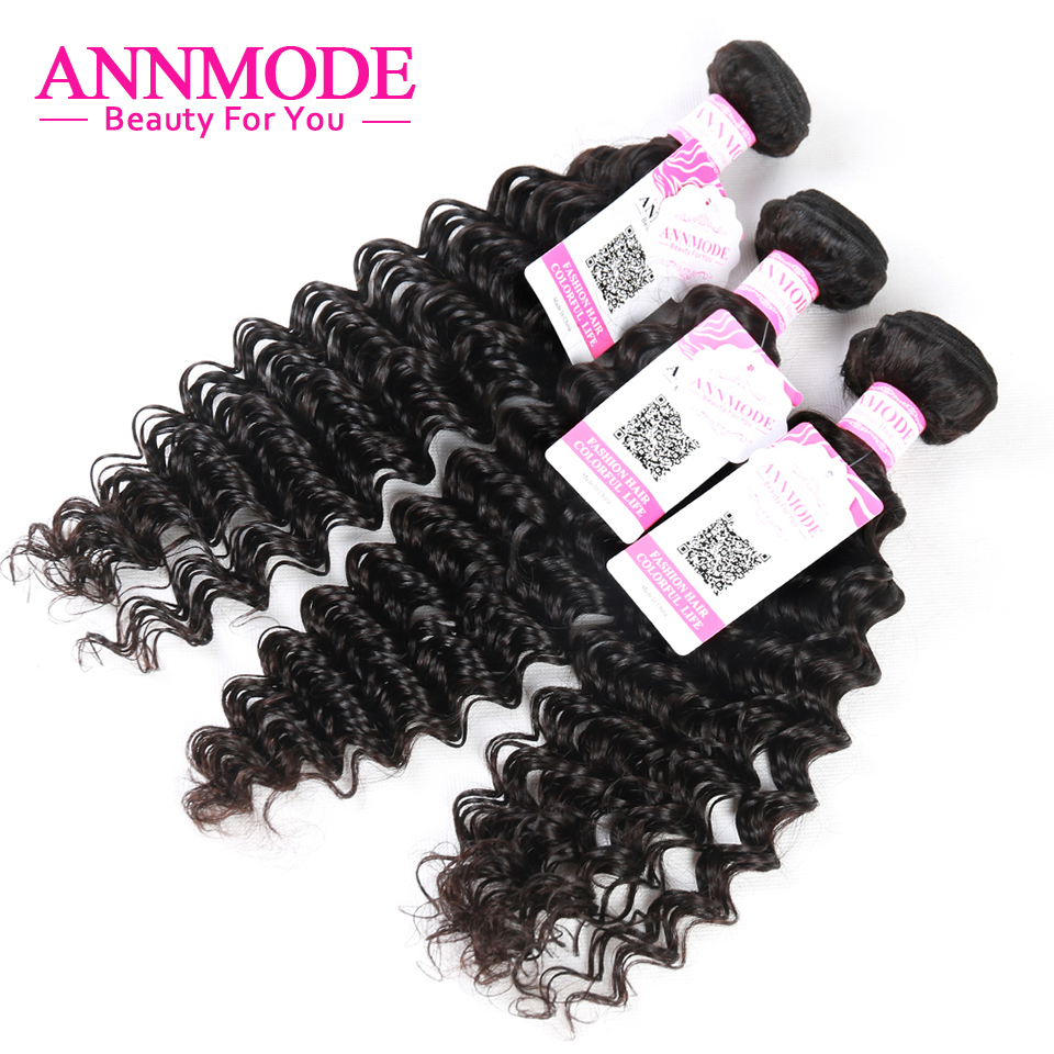 Annmode Brazilian Deep Wave Bundles 8-28inch 3 Pieces Non-remy Human Hair Natural Color Free Shipping Machine Double Weft