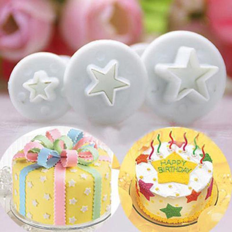 baking accessories plastic 3pcs star shape cupcake mold christmas wedding sugarcraft fondant cutter cake decorating tools
