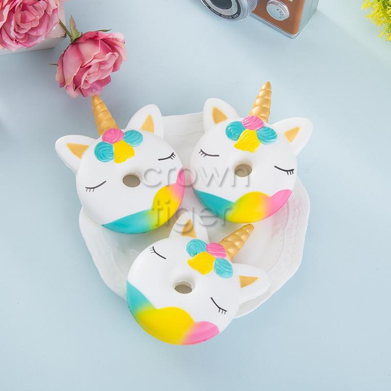 Kawaii 12cm Big Squishy Donut Unicorn Jumbo Squishy Slow Rising Pink Unicorn Doughnut Squeeze Fun Toy For Children Antistress #5