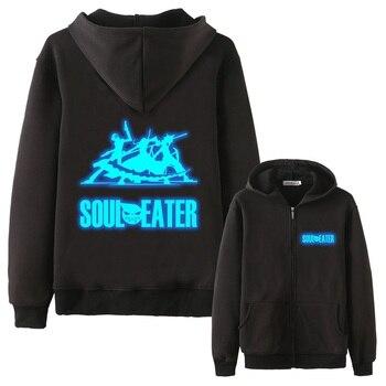 High-Q Unisex Soul Eater MAKA ALBARN luminous Coat hoodie feece jacket Soul Eater Black Star thick Noctilucent hoodie jacket фото