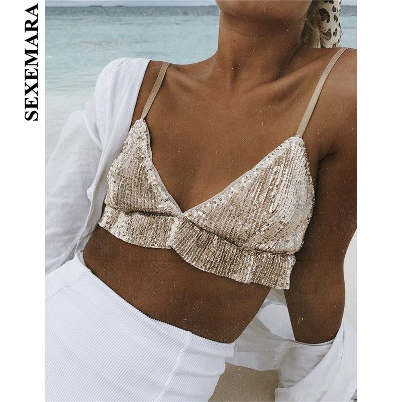 BOOFEENAA Sexy Gold Sequin Bralette Crop   Top   Women Spaghetti Strap Deep V Backless Beach Party Club Camisole   Tank     Tops   C66-H59