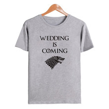 LUSLOS WEDDING IS COMING Game Of Thrones Inspired bride T-shirt Wedding Day Women Short Sleeve
