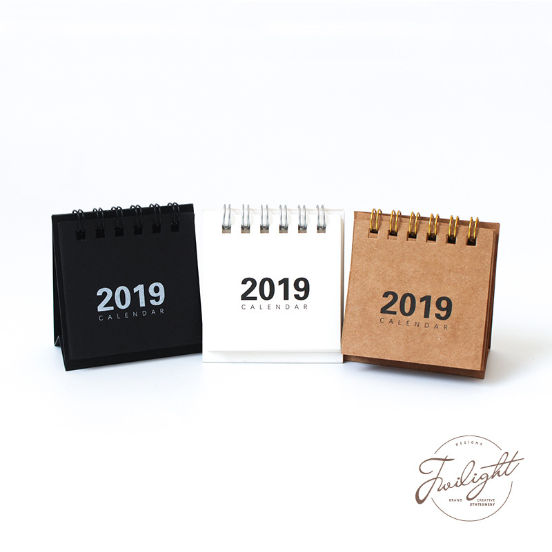 2019 New Year Calendar 2019 Fashion Simple Lovely Mini Table Calendars Vintage Kraft Paper Desk Calendar Office School Supply Office & School Supplies Calendar