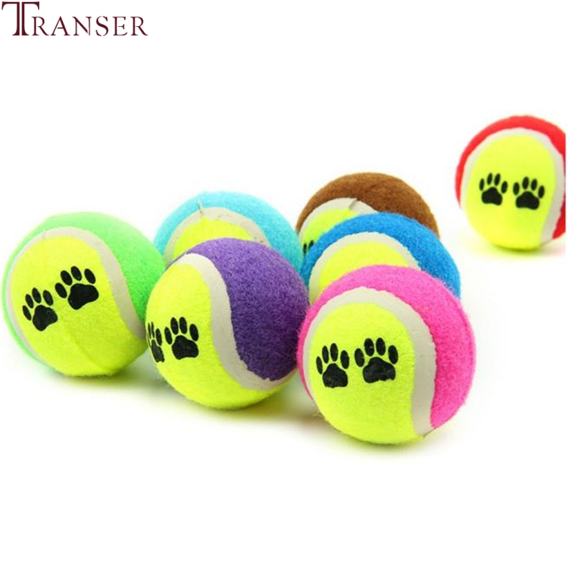 Transer Pet Supply Dog Ball Toy Paw Print Tennis Balls Chew Interactive Toys For Large Small Medium Dogs 80112