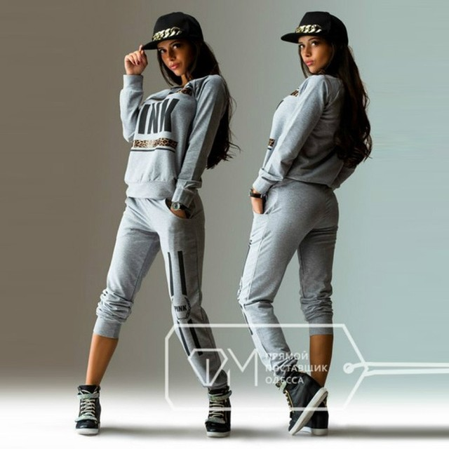 2016 Letter Print Pink Lady Tracksuit Women Hoodies Sweatshirt +Pant Women Costumes Track suit 2 Piece Set Gray Green