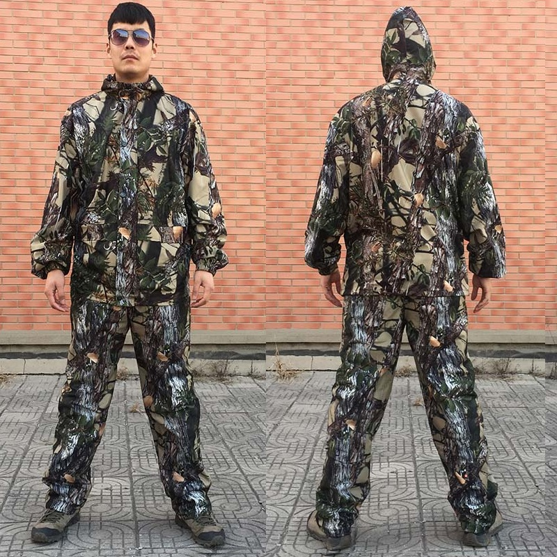 Breathable Bionic Camouflage Hunting Ghillie Suit Hunting Jacket PantsTactical Camo Hooded Suspender Camouflage Hunting Clothes zipper up hooded camo lightweight jacket