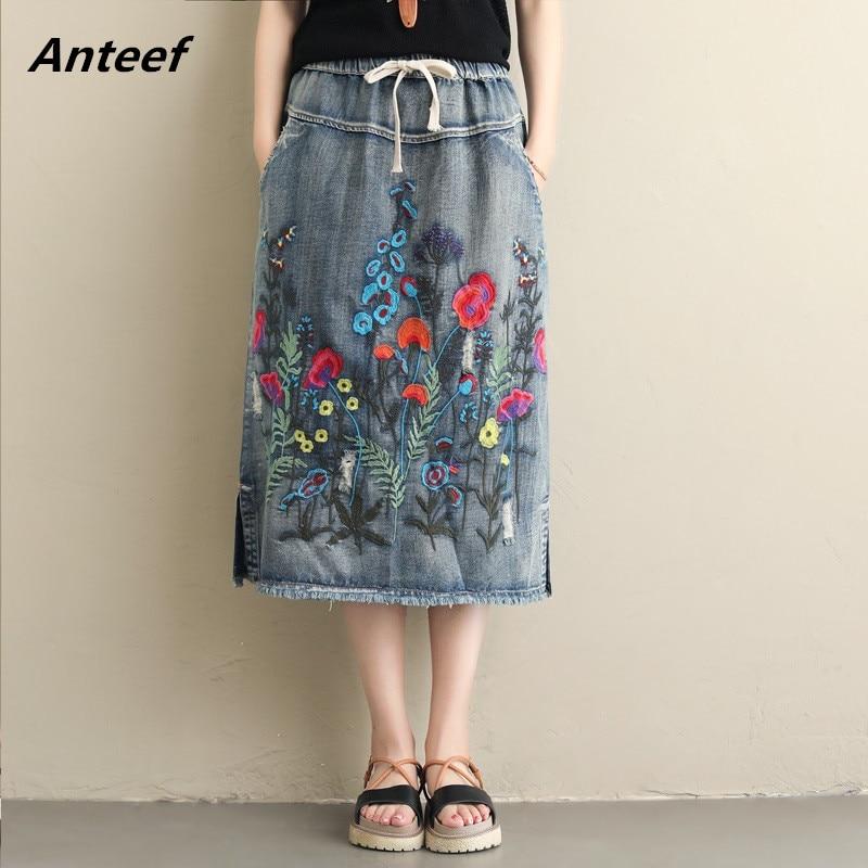 2019 Vintage Plus Size High Waist Spring Summer Saias Femininas Casual Loose Long Denim Skirt Women Skirts Female Clothes