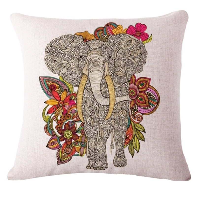 Colorful India Elephant Cotton Linen Pillow Case 18 inch Square Chair Waist Pillow Cover Home Garden Textile ...