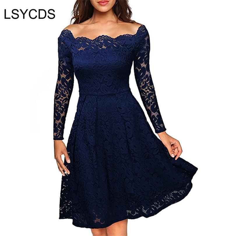 Woman Dresses 2019 Long Sleeve Slash Neck Wedding Party Wear Casual A-line Sexy Red Black White Lace Dress Plus Size S-3XL