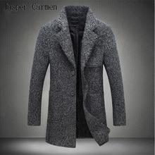 Горячая продажа бесплатная доставка мужская новая зимняя мужская ветровка длинная шерсть кашемир моды теплое пальто плюс размер М-5XL Z145