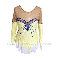 Фигурное катание платье Для женщин девочек Катание на коньках платье светло желтый, синий воды дрель с длинным рукавом красивый ангел