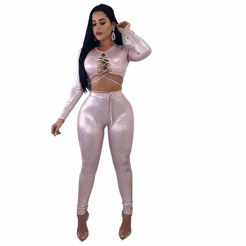 Front Lace Up PU Leather Sexy Bodycon Jumpsuit Women O Neck Long Sleeve Pants Overall Club Party Rompers Womens Jumpsuit Catsuit