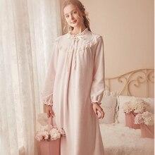 핑크 따뜻한 잠옷 겨울 잠옷 벨벳 잠옷 여성 우아한 Nightdress 긴 Homewear 드레스 벨벳