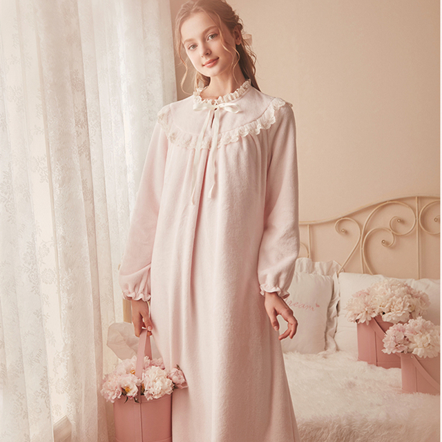 Pink Warm Nightgown Winter Sleepwear Velvet Nightgown Women Elegant Nightdress  Long Homewear Dress Velvet